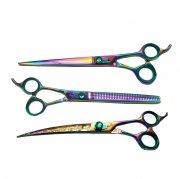 KIT Profissional com 3 Tesouras Patinhas Multicolor - Reta, Semi Curva, Semi Dentada