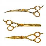 KIT Profissional com 3 Tesouras Dragão Dourada - Reta, Curva, Semi Dentada